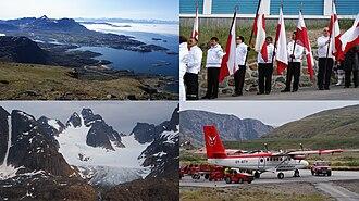 Qeqqata - Clockwise from top left: Davis Strait, Sisimiut, Kangerlussuaq Airport, Sermersut Island