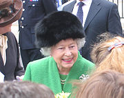 Elizabeth II speaking to the public.