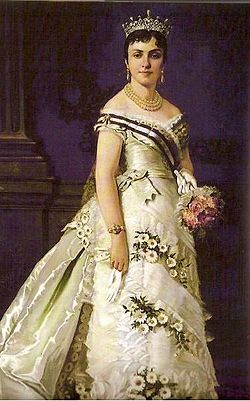 Queen María de las Mercedes de Orleans as Queen of Spain on her wedding day by an unknown artist.jpg