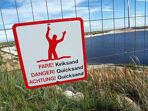 English: Warning sign for quicksand in Frederi...