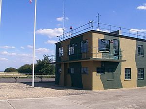 Clapham, Bedfordshire - RAF Twinwood Control Tower, restored in 2002