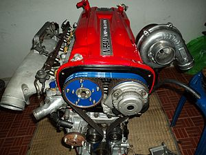 Forced induction - A turbocharged Nissan RB engine.