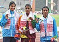 RMRK Rathnayaka (SRI LANKA) won Gold Medal, Srabani Nanda (INDIA) won Silver Medal and Dutee Chand (INDIA) won Bronze Medal in 100m Women's Run, at the 12th South Asian Games-2016, in Guwahati on February 10, 2016.jpg