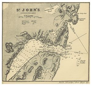 Signal Hill, St. John's - Map of St. John's (1869), The Harbour, fortifications Fort William and Fort Townsend