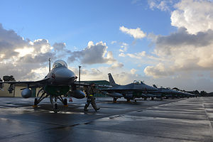 Monte Real Air Base - USAF F-16 Fighting Falcons lined up on the Monte Real Air Base flightline