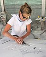 Rachel Lee Hovnanian sculpting in Massa-Carrara, Italy 2015.jpg