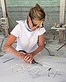 Rachel Lee Hovnanian sculpting in Massa-Carrara, Italy 2015.jpg