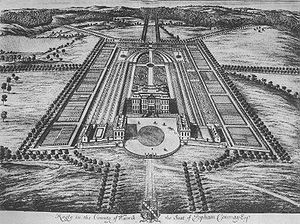 Ragley Hall - Ragley Hall illustrated by Jan Kip in Le Nouveau Theatre de la Grande Bretagne, 1697-99