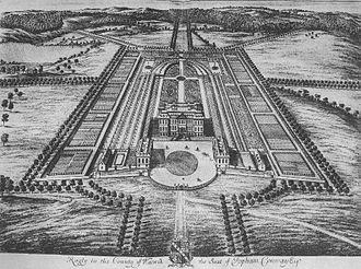 Ragley Hall - Ragley Hall illustrated by Jan Kip in Le Nouveau Théâtre de la Grande Bretagne, 1697-99.