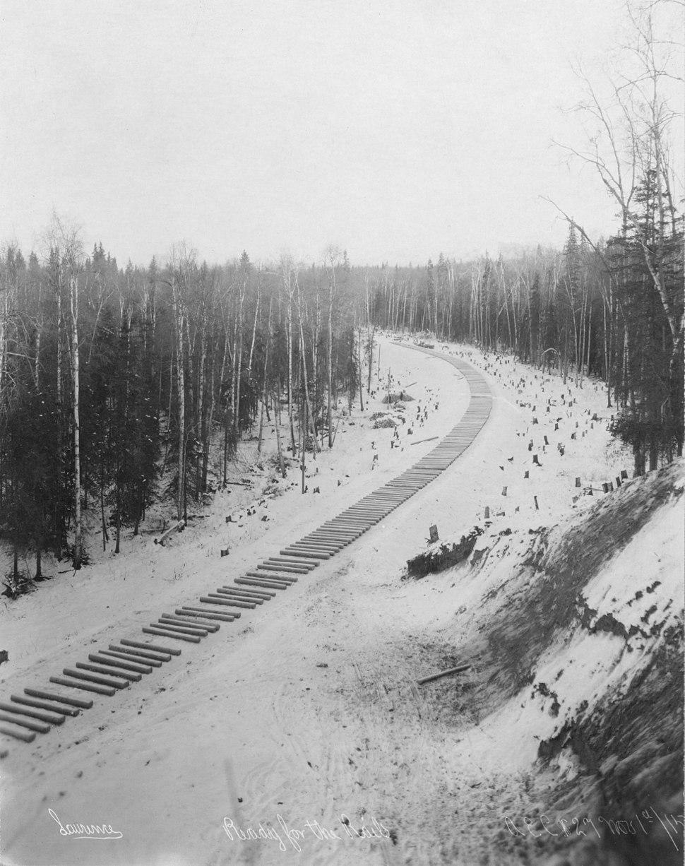 Railroad construction - ties awaiting rails, Alaska, 1915