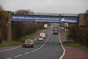 A26 road (Northern Ireland) - Image: Railway bridge near Moira geograph.org.uk 307866