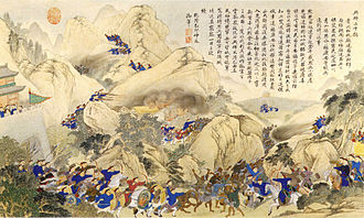 Miao people - A Qing-era painting depicting a government campaign against the Miao in Hunan, 1795.