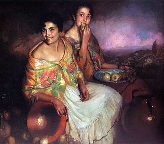 Gitanos - Portrait of Marta and María, both Granadan Gitanas, by Ramón Carazo Martinez, late-19th-century.