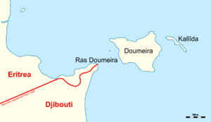 Djiboutian–Eritrean border conflict - Map of the disputed Ras Doumeira region