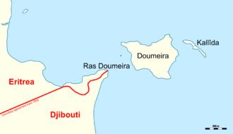 Djiboutian–Eritrean border conflict - Map of the disputed Ras Doumeira region
