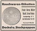 Rauchwaren-Etiketten, Friedr. Herm. Müller, Leipzig, Am HallischenTor 10 (Anzeige, 1933).jpg