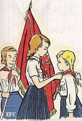 Vladimir Lenin All-Union Pioneer Organization - Illustration of the recruitment of a female pioneer.