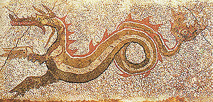 Caulonia (ancient city) - Mosaic of a dragon, third century BC, discovered in 1969