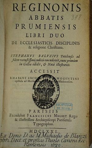 """Regino of Prüm - """"de ecclesiasticis disciplinis""""."""
