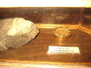 Bernadette Soubirous - Relic of St. Bernadette and stone from the Grotto of Lourdes