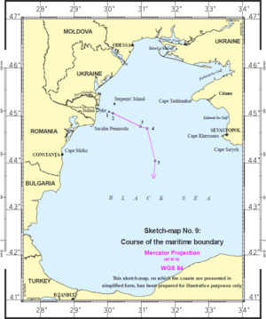 Maritime Delimitation in the Black Sea case - Maritime boundary established by the ICJ