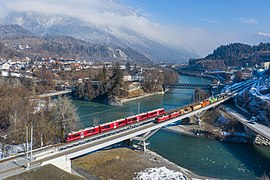 RhB Ge 4-4 I with freight and ABe 4-16 as S-Bahn at Reichenau-Tamins.jpg