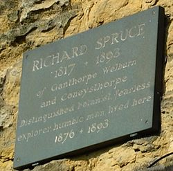 Photo of Richard Spruce slate plaque