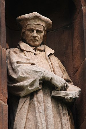 Richard Parry (bishop) - Statue of Richard Parry on the Translators' Memorial in the churchyard of St Asaph Cathedral