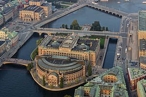 Helgeandsholmen - Helgeandsholmen with the Riksdagen, aerial view