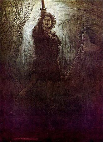 Fantasy tropes - Illustration by Arthur Rackham to Richard Wagner's Die Walküre: the magic sword, such as Nothung, is a common fantasy trope.