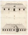 Ritning på envåningsbyggnad, 1730-1740-tal - Skoklosters slott - 98988.tif
