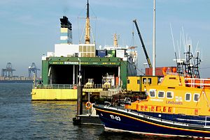 Ro-Ro Ferry Estraden, Severn class lifeboat, container cranes, Harwich, Essex, UK.jpg