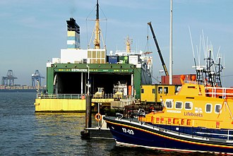 Harwich Lifeboat Station - Image: Ro Ro Ferry Estraden, Severn class lifeboat, container cranes, Harwich, Essex, UK