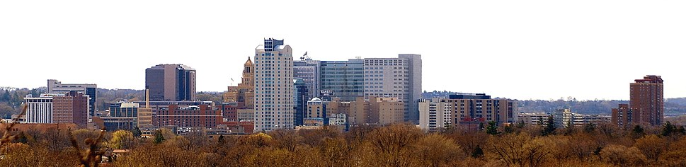 Westward View of Downtown Rochester from Quarry Hill Park (2010).