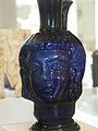 Roman blue glass head flask mold-blown 4th century CE (1075362006).jpg