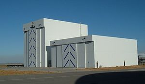 Rotary Rocket - The Rotary Rocket Hangars at Mojave Air and Space Port, as seen in 2005. The taller hangar on the left was the Rotary Rocket Assembly Building.