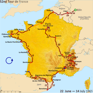 1965 Tour de France - Route of the 1965 Tour de France
