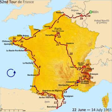 Маршрут Тур де Франс 1965 года