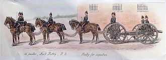 Royal Artillery - 16 Pounder RML field gun with horse team, c. 1880