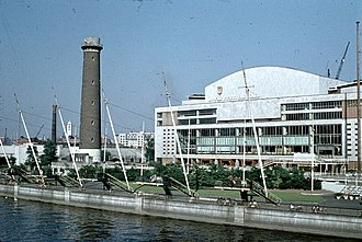 South Bank - Royal Festival Hall c1959 and the now-demolished Shot Tower.