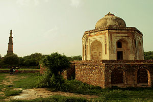 Mehrauli Archaeological Park - Tomb of Quli Khan, overlooking the Qutub Minar.