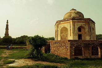 Mehrauli Archaeological Park - Tomb of Quli Khan, overlooking the Qutub Minar.