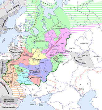 Principality of Kiev - Rus' principalities in 1237, Kiev in light blue