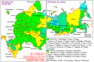 European Russia - Russia in Europe and Asia with current administrative divisions (de facto boundaries).
