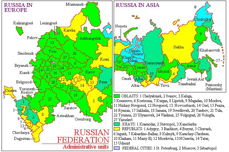 Russia-Subdivisions with Crimea
