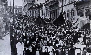 Anarchism in Brazil - Workers raise the anarchist black flag during the São Paulo General Strike of 1917
