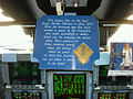 STS-135 commemorative plaque in the cockpit of Atlantis.jpg