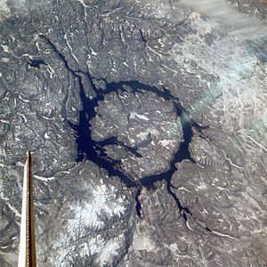 Manicouagan Reservoir - The crater in winter, as seen from the space shuttle (north is to the lower right)