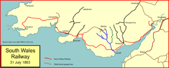 South Wales Railway - The South Wales Railway system at amalgamation with the GWR in 1863