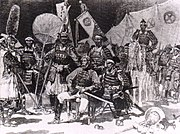 Saigo Takamori (seated, in Western uniform), surrounded by his officers, in samurai attire, during the 1877 Satsuma rebellion. News article in Le Monde Illustré, 1877.